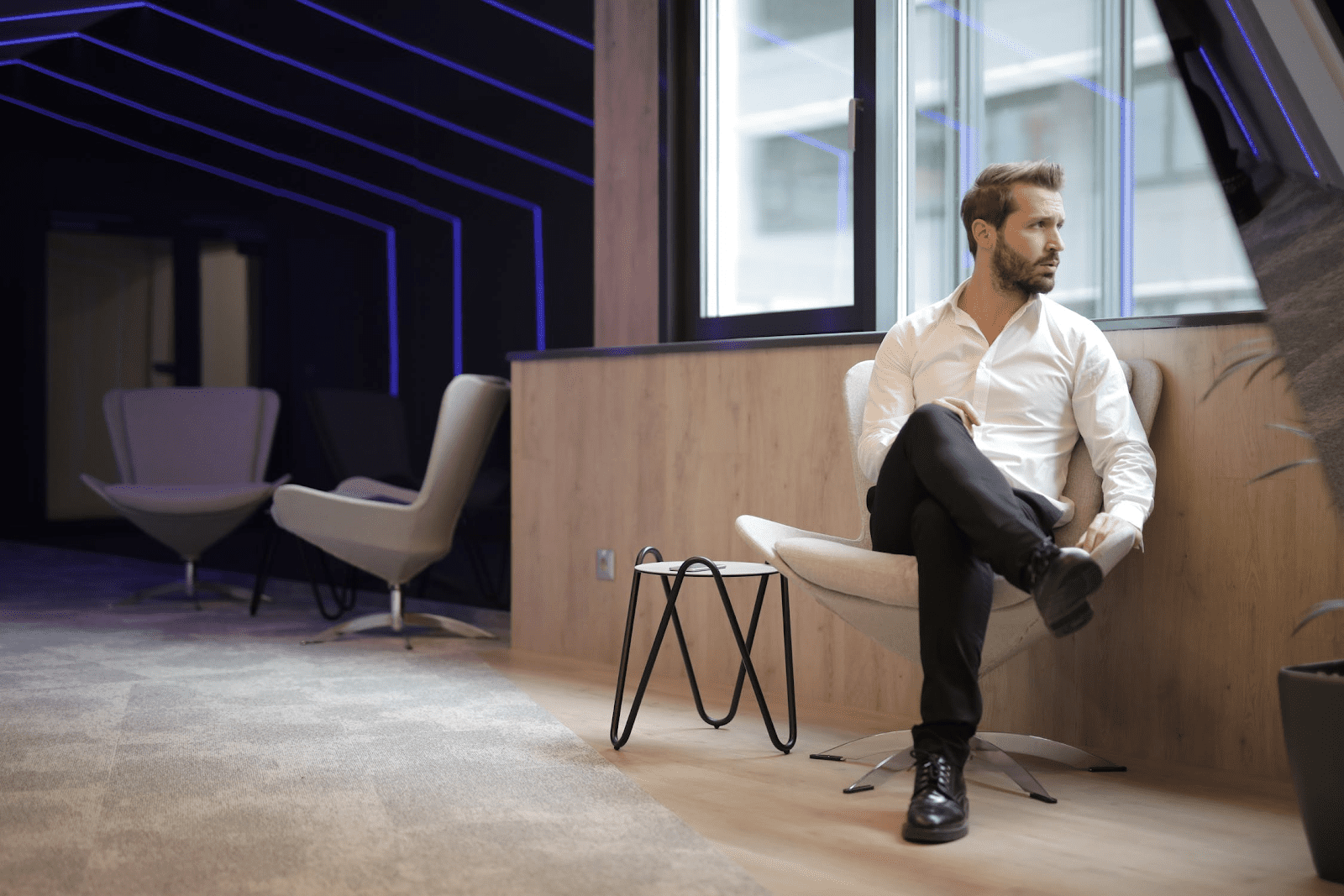 man sitting alone in an office