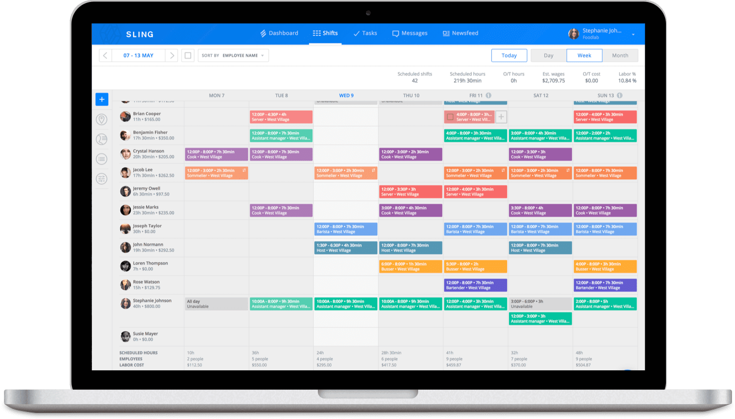 Sling feature for creating a seasonal schedule