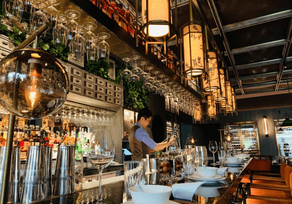 employee behind the bar