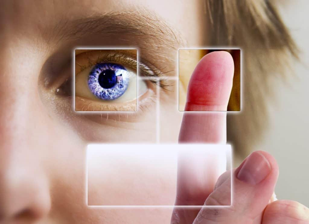 visual of someone using a biometric time clock
