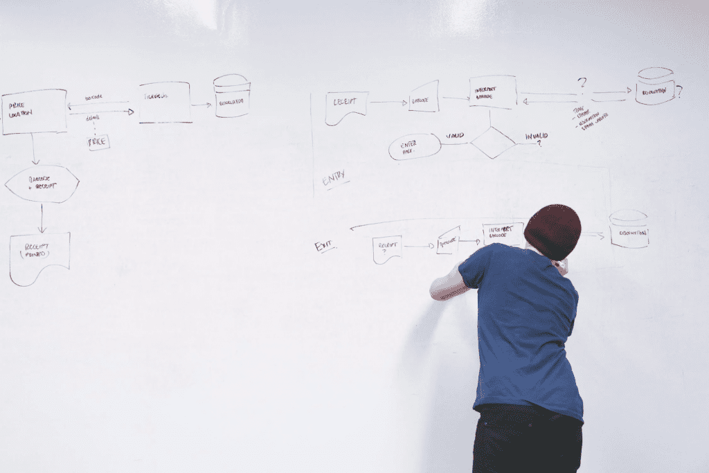 man creating an organizational chart on whiteboard