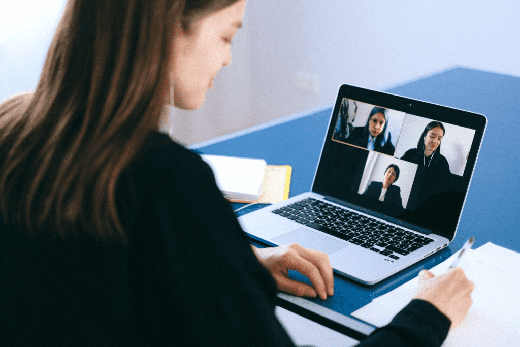 virtual team building meeting on laptop