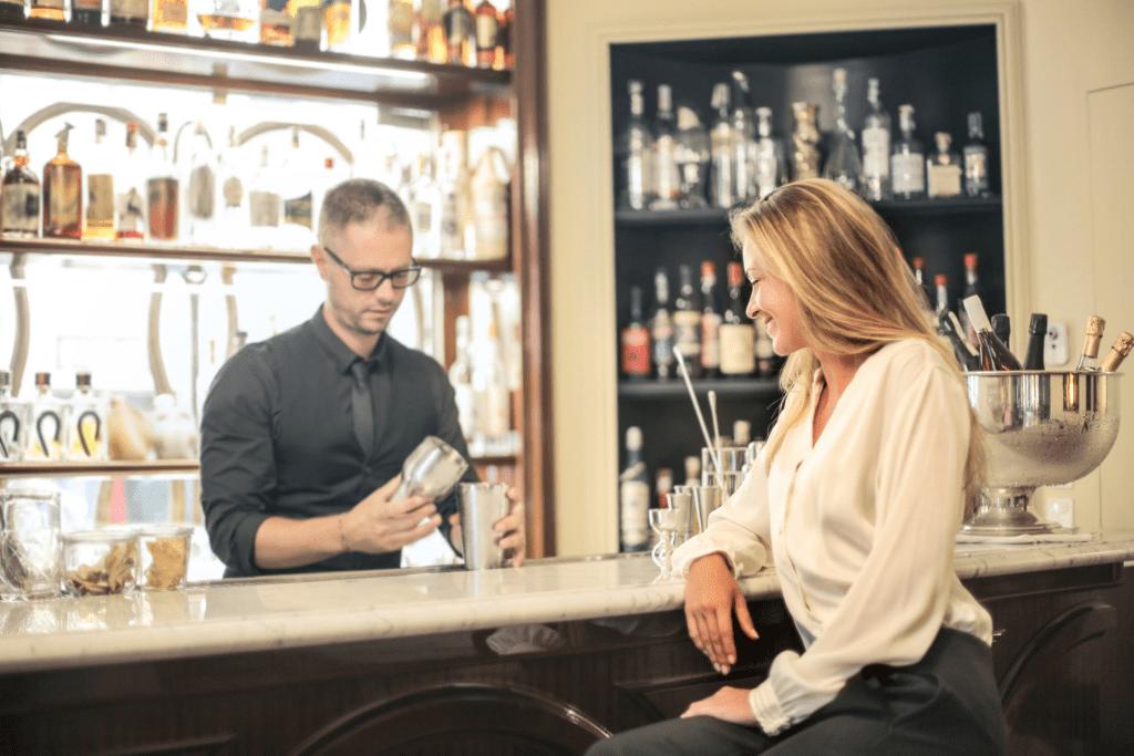 Bartender creating customer loyalty