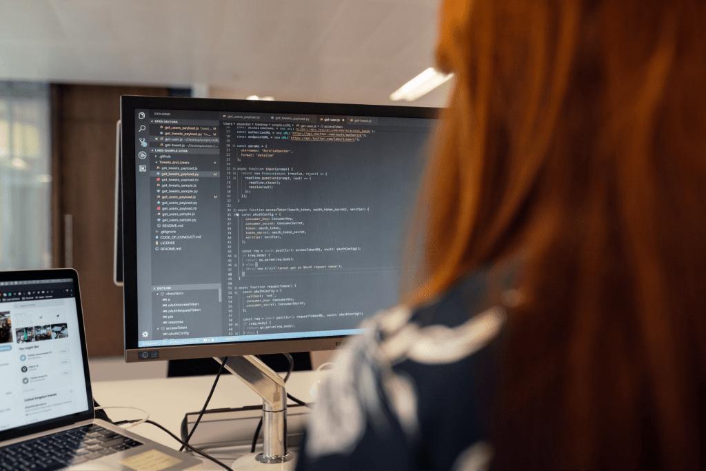 Exempt employee working on computer