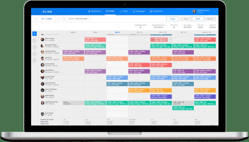 screenshot of sling scheduling app