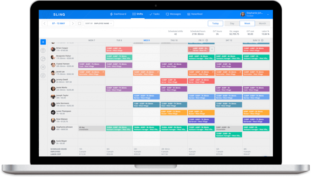 Inside sling app to schedule restaurant training