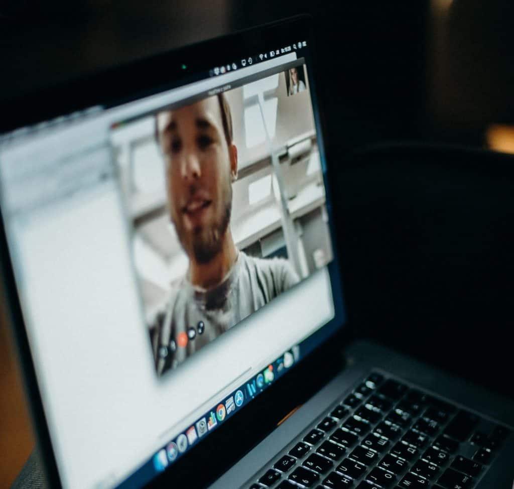 Screen shot of a virtual training video call