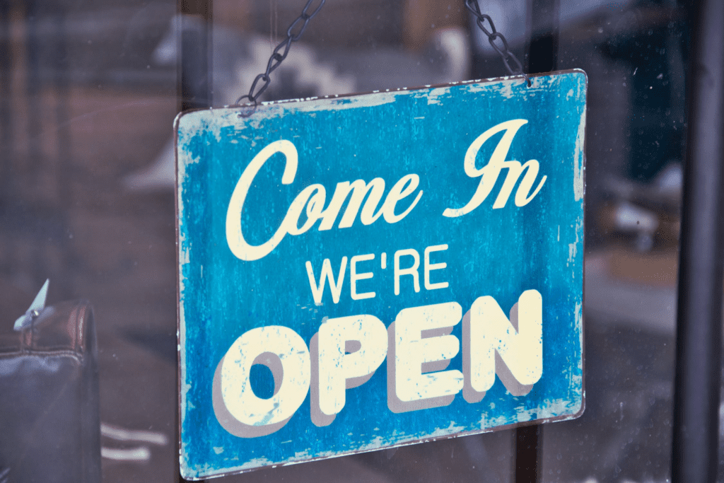 Come in We're open sign for a business
