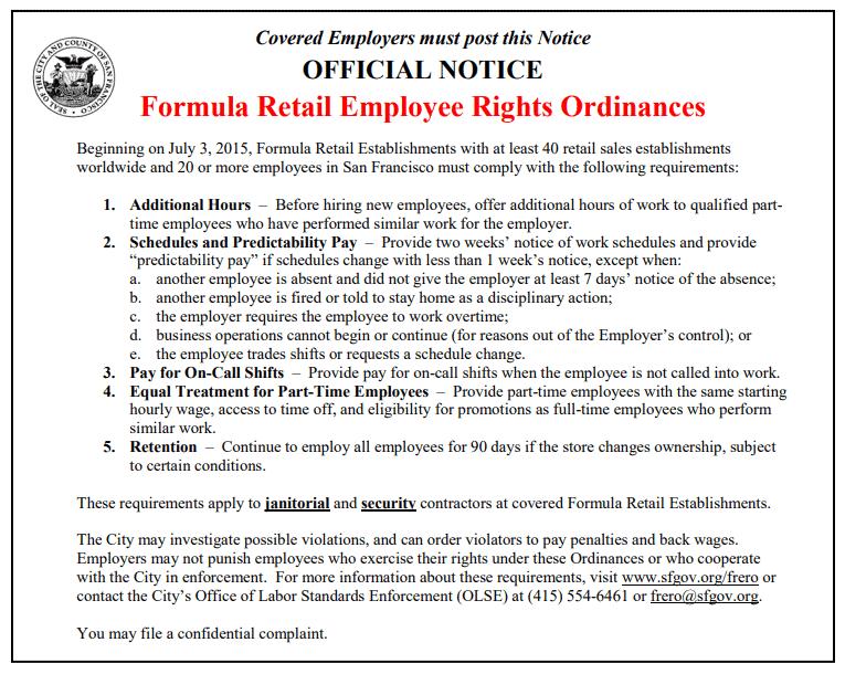 San Francisco's Formula Retail Employee Rights Ordinances