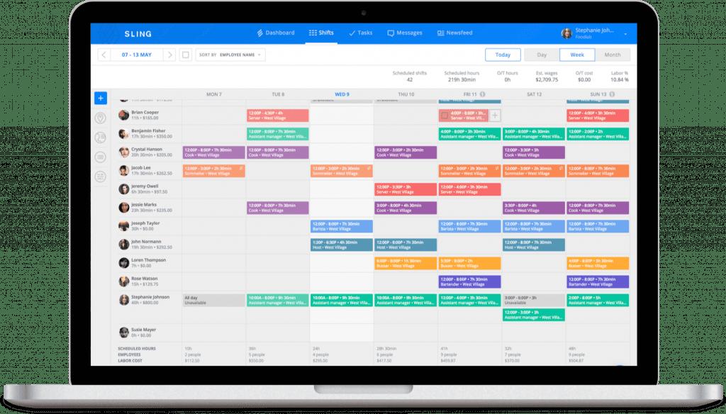 Sling app for restaurant scheduling