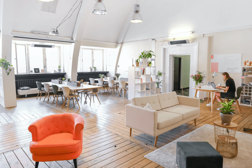 Bright open concept office space