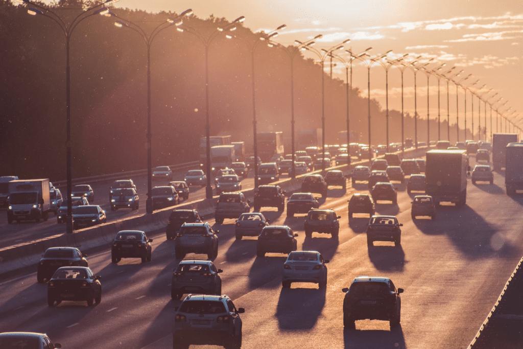 freeway traffic during sunset