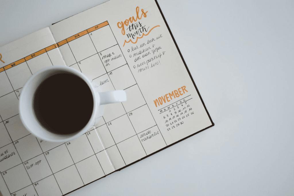 Calendar for business goals tracking