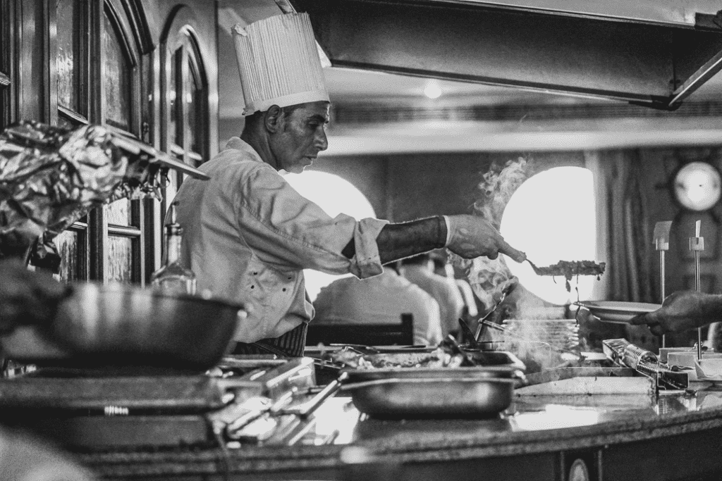 chef serving a meal