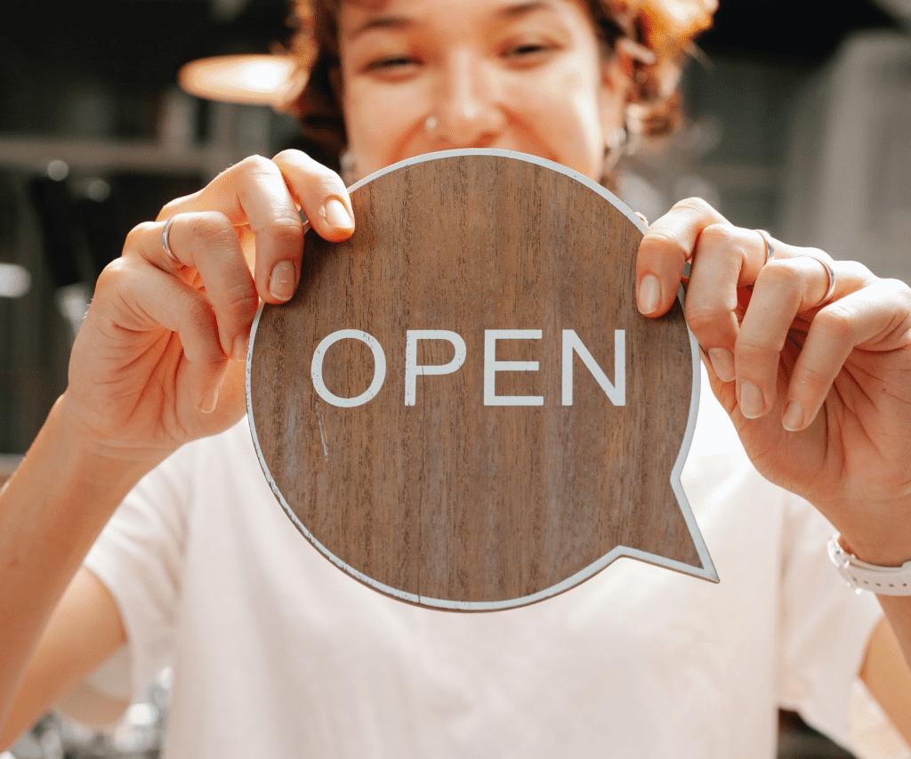 hospitality marketing open sign