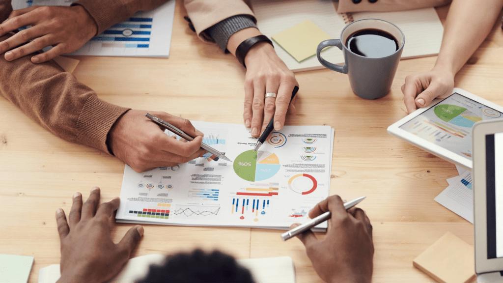 Management going over team task management metrics