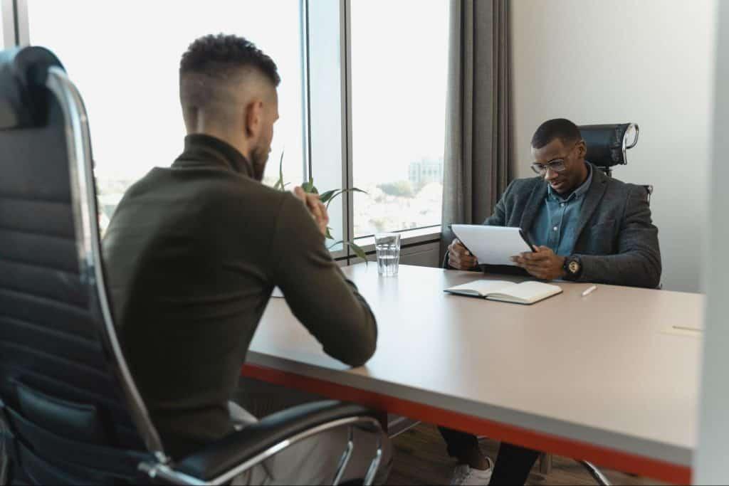 Potential employee receiving interview feedback